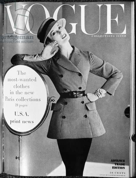 VOGUE MAGAZINE, 1955 Cover of the 1 March 1955 issue of the American edtion of 'Vogue' magazine, featuring new collections from Paris.
