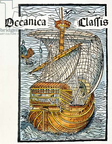 CARAVEL: LATEEN-SAIL, 1493 A Spanish caravel similar to the 'Santa Maria.' Woodcut from the illustrated edition of the Christopher Columbus letter to Gabriel Sanchez, 1493.