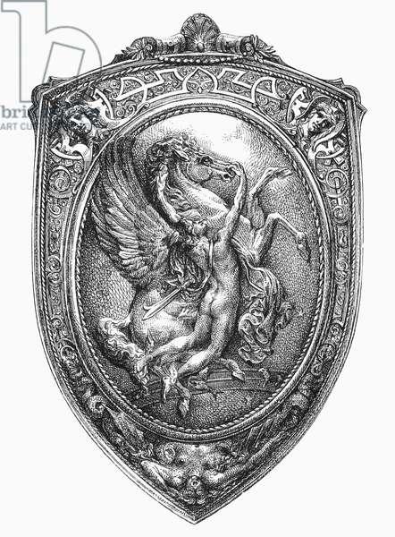 PERSEUS AND PEGASUS French Renaissance shield depicting Perseus taming Pegasus. Line engraving, c.1900.