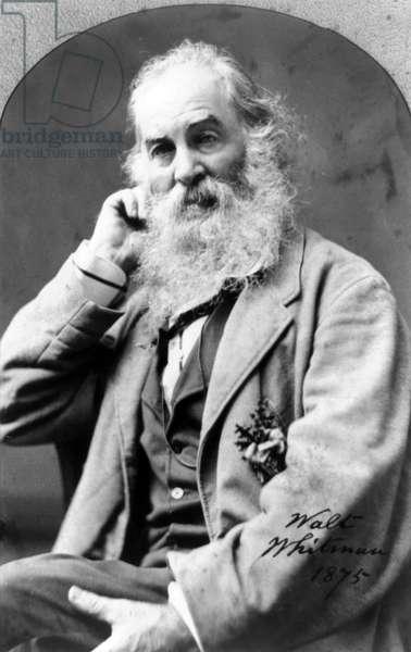 WALT WHITMAN (1819-1892) American poet. Photograph by Mathew Brady, 1875.