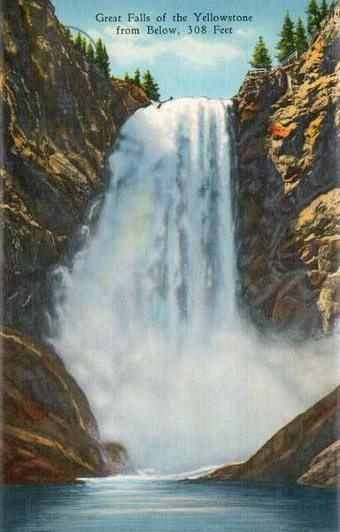 YELLOWSTONE NATIONAL PARK The Lower Yellowstone Falls of the Yellowstone River at Yellowstone National Park, Wyoming. Postcard, American, 1937.