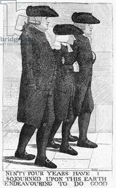 JOHN WESLEY (1703-1791) English theologian and founder of Methodism. Caricature etching, 1790, by John Kay showing Wesley (center) with fellow Methodists James Hamilton and Joseph Cole on an Edinburgh street.