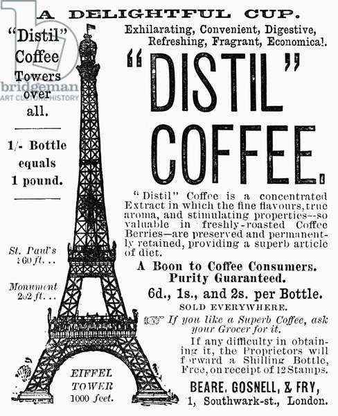 DISTIL COFFEE, 1889 English newspaper advertisement, 1889.