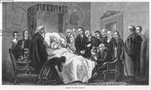DEATH OF JOHN WESLEY (1703-1791). English religious leader: Wood engraving, American, 1874.