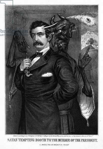 BOOTH AND THE DEVIL, c.1865 'Satan tempting Booth to the murder of the President.' Lithograph by John Magee, c.1865.