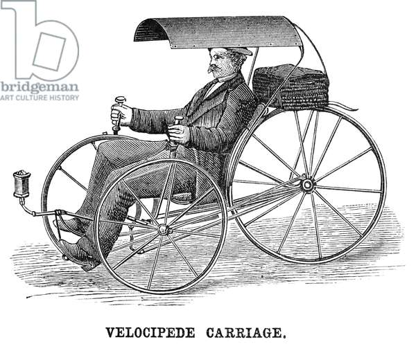 VELOCIPEDE CARRIAGE, 1881 A German invention. Wood engraving, 1881.