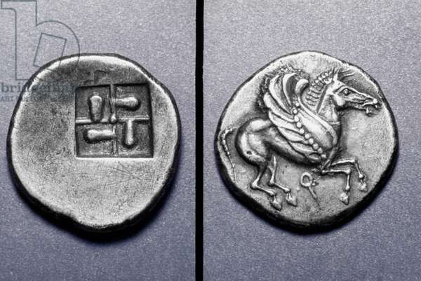 PEGASUS: GREEK COIN Silver stater or tridrachm of Corinth, c515 B.C. Obv: Pegasus flying; rev: formalized incuse square.