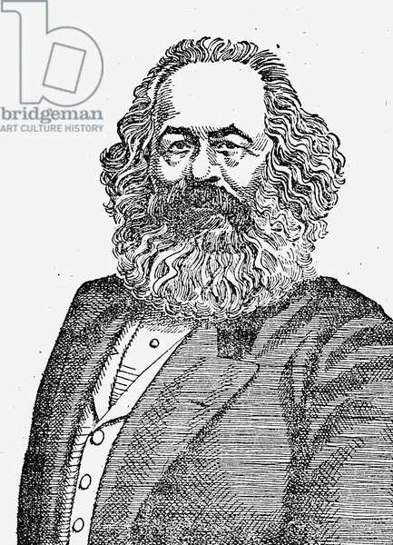 KARL MARX (1818-1883) German political philosopher. Wood engraving.