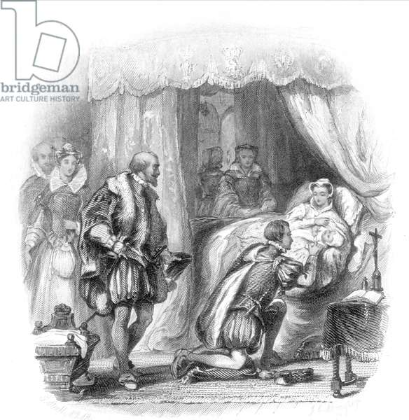 MARY, QUEEN OF SCOTS (1542-1587). Mary Stuart presenting their newborn son, James, Prince of Scotland and heir of Great Britain, to her husband, Henry Lord Darnley, Titular King of Scotland.