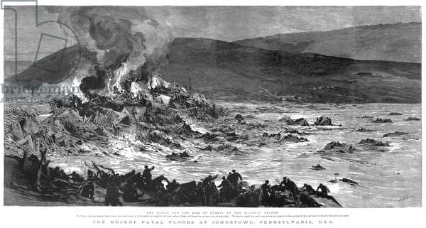 JOHNSTOWN FLOOD, 1889 The fire at the railroad bridge: wood engraving from a contemporary English newspaper.