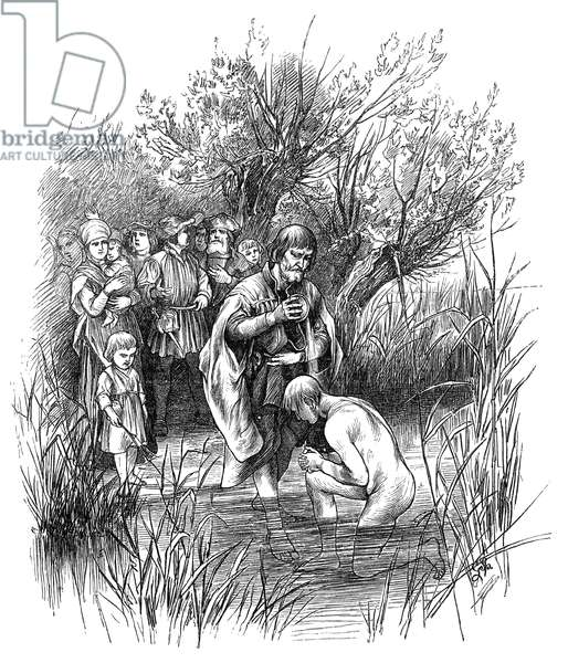 ANABAPTIST RIVER BAPTISM in medieval Germany. Wood engraving, Germany, 19th century.