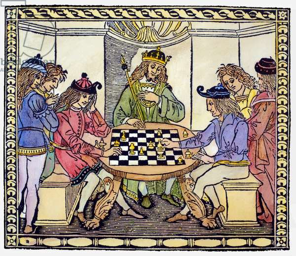 CESSOLIS: CHESS, 1493-94 Woodcut frontispiece to Jacobus de Cessolis' 'Libro di Giuoco di Scacchi' ('Book of the Game of Chess'), printed at Florence, Italy, 1493-94.