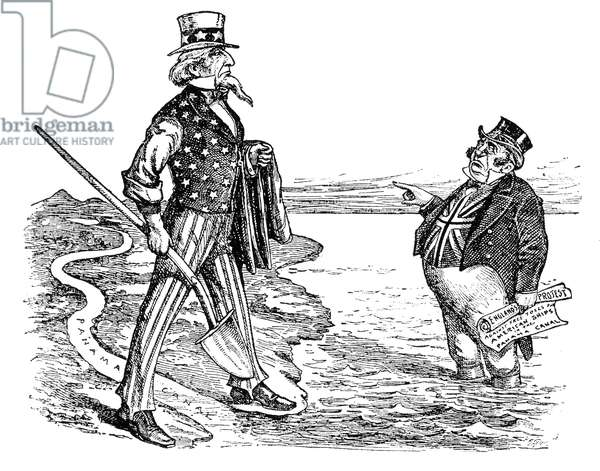PANAMA CANAL CARTOON, 1912 'Uncle Sam's Canal.' An Irish cartoon of 1912 on British protests against free tolls for American ships passing through the Panama Canal, a toll regulation repealed by President Woodrow Wilson in 1914.