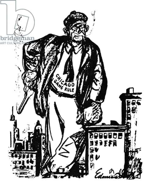 CARTOON: AL CAPONE, 1930. 'The King Still Reigns.' American cartoon showing Capone still in control of Chicago after the St. Valentine's Day massacre of 1929, but before his 1931 conviction on income-tax evasion. Cartoon, 1930.