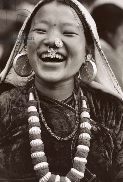INDIA: GIRL, c.1968 Portrait of a Nepali girl in Sikkim, India. Photograph by Alice S. Kandell, c.1968.