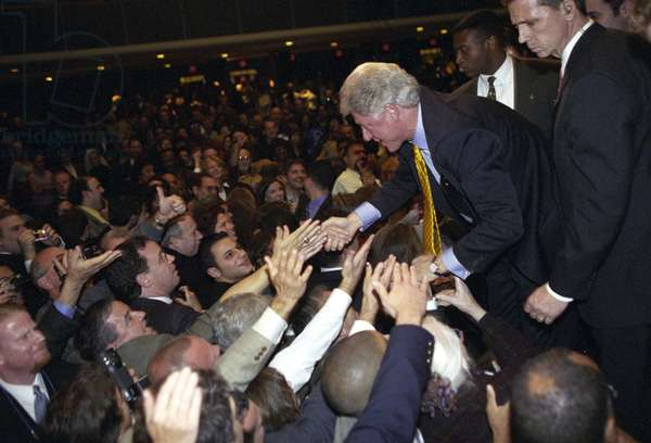BILL CLINTON (1946- ) 42nd President of the United States. Campaigning for his wife Hillary for senator in Hempstead, New York. Photograph, 2000.