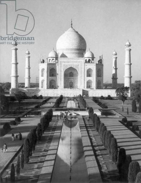 INDIA: THE TAJ MAHAL In Agra. The marble mausoleum built (1631-45) by the Mogul Emperor Shah Jahan in memory of his favorite wife.