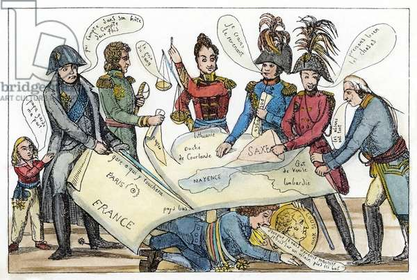 CONGRESS OF VIENNA, 1815 Napoleon I, returned from Elba, cuts France from the map that, from left, Joseph Bonaparte, Klemens von Metternich, Czar Alexander I, a Prussian delegate, and George III divide, while Prince Charles Maurice de Talleyrand hides. French broadsheet cartoon, Spring 1815.