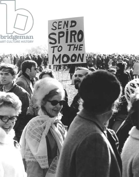ANTI-WAR PROTEST, 1969 Protesters on the Mall in Washington, D.C., demonstrate against the war in Vietnam on 15 November 1969. The sign refers to then Vice-President Spiro Agnew who had spoken harshly against anti-war demonstrators.