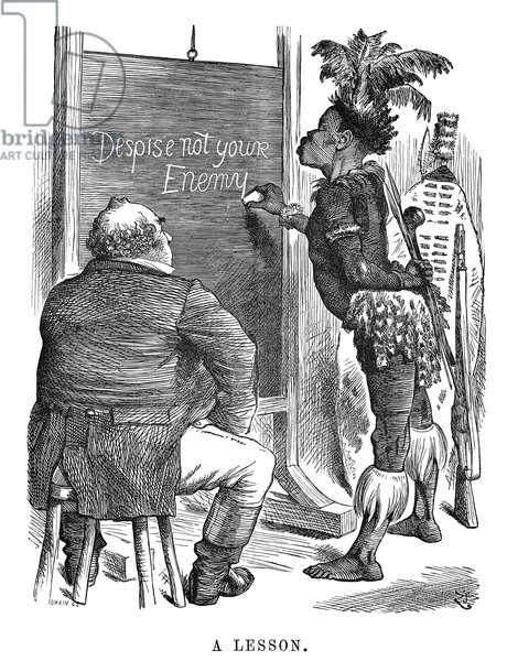 ZULU WAR CARTOON, 1879 'A Lesson.' A Zulu chief teaches John Bull a lesson in this cartoon by John Tenniel from 'Punch,' 1879.
