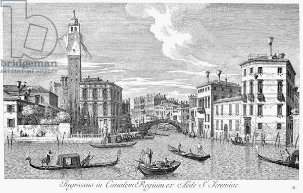 VENICE: GRAND CANAL, 1742 The Grand Canal in Venice, Italy: S. Geremia and the entrance to the Cannaregio. Line engraving, 1742, by Antonio Visentini after Canaletto.