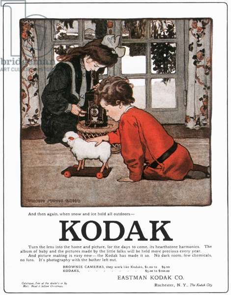 KODAK ADVERTISEMENT, 1906 Advertisment for a Kodak hand-held camera, from an American magazine, 1906.