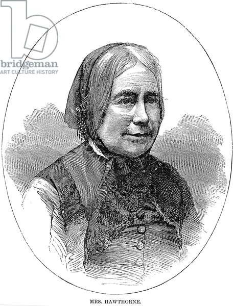 SOPHIA PEABODY HAWTHORNE (1810-1871). Mrs. Nathaniel Hawthorne. Wood engraving, American, 1871.
