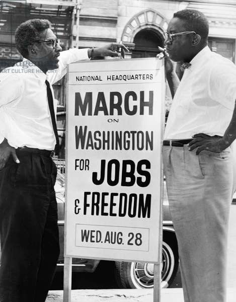 RUSTIN AND ROBINSON, 1963 Bayard Rustin and Cleveland Robinson in Washington D.C., shortly before the March on Washington. Photograph by Orlando Fernandez, August 1963.