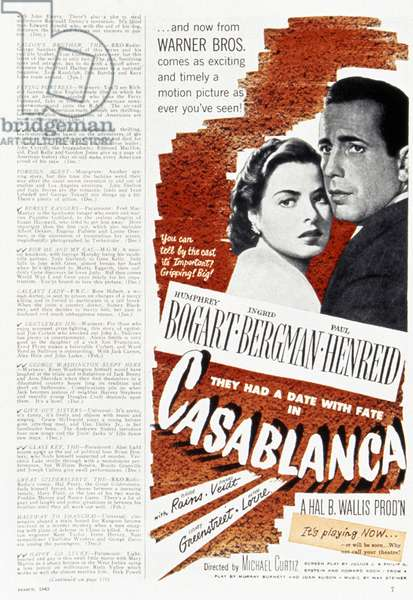 CASABLANCA, 1942 American magazine advertisement for the film 'Casablanca,' starring Ingrid Bergman and Humphrey Bogart, 1942.