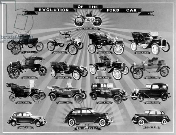 AUTOMOBILE: FORD MODELS Evolution of the Ford Car. Models from 1896 to 1937.