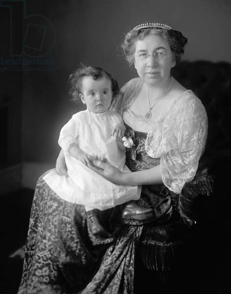 MABEL HUBBARD BELL (1857-1923) Mabel Gardiner Hubbard Bell, wife of Alexander Graham Bell. Photographed with her baby granddaughter, early 20th century.
