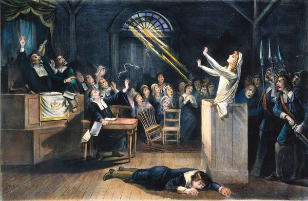 SALEM WITCH TRIAL, 1692 A witch trial at Salem, Massachusetts, in 1692. (Lithograph) 19th century.