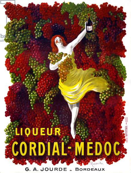 AD: ALCOHOL, c.1906 Advertisement for Jourde Cordial-Medoc. Lithograph by Leonetto Cappiello, c.1906.