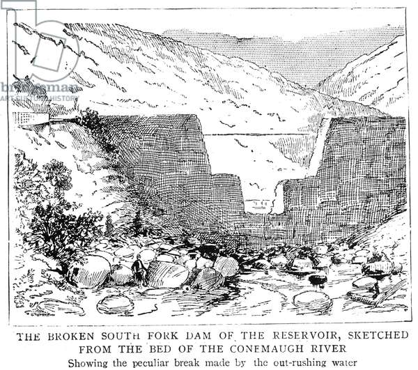 JOHNSTOWN FLOOD: DAM, 1889 A section of the broken dam following the Johnstown Flood of 1889: wood engraving from a contemporary English newspaper.