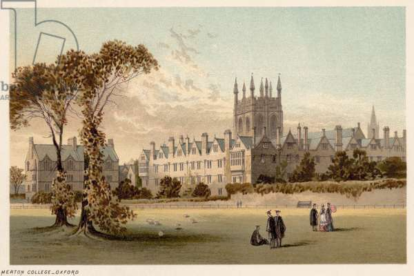 OXFORD: MERTON COLLEGE Lithograph, c.1885.
