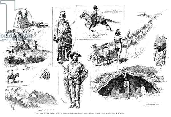 REMINGTON: NAVAJO, 1890 'The Navajo Indians.' Drawings by Frederic Remington after photographs by Wittick and Son, in Albuquerque, New Mexico, 1890.