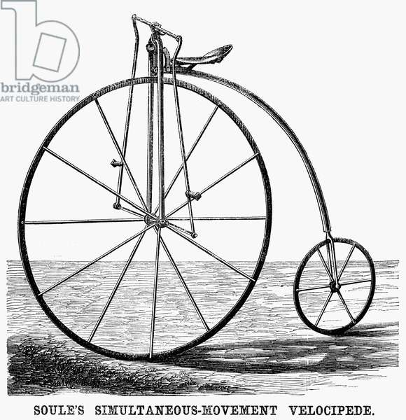 VELOCIPEDE, 1869 Soule's simultaneous movement penny farthing velocipede. Wood engraving, American, 1869.