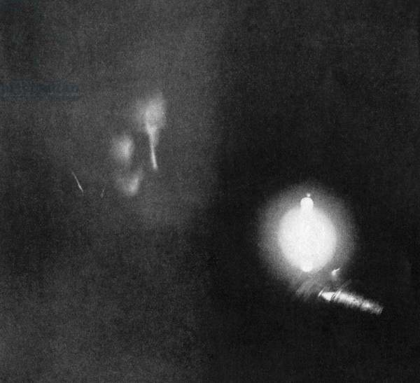 NIKOLA TESLA (1856-1943). Serbian-American electrician and inventor. The first photograph exposed by phosphorescent light; the exposure time was eight minutes. Photograph, January 1894.