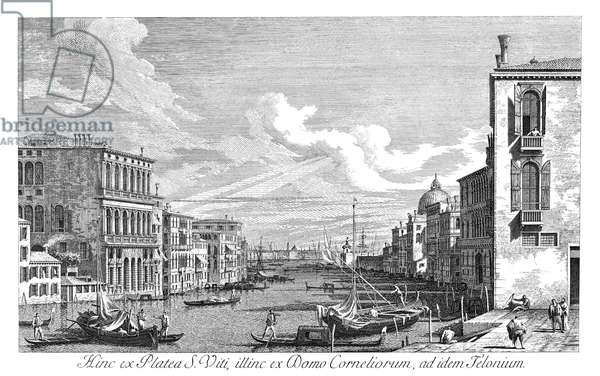 VENICE: GRAND CANAL, 1735 The Grand Canal in Venice, Italy looking east from Campo San Vio towards the Bacino. Engraving, 1735, by Antonio Visentini after Canaletto.