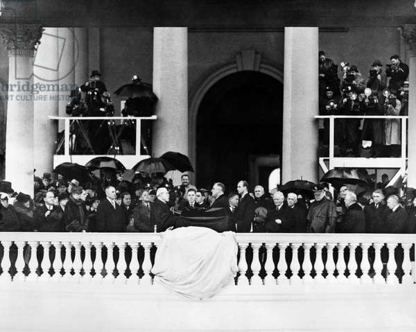 FRANKLIN D. ROOSEVELT (1882-1945). 32nd President of the United States. Roosevelt at his second inaugural, 20 January 1937.