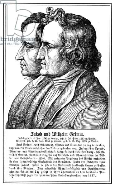 GRIMM BROTHERS, 19th CENT Jakob Grimm (1785-1863) and Wilhelm Grimm (1786-1859). German philologists and folklorists. Line engraving, German, 19th century.