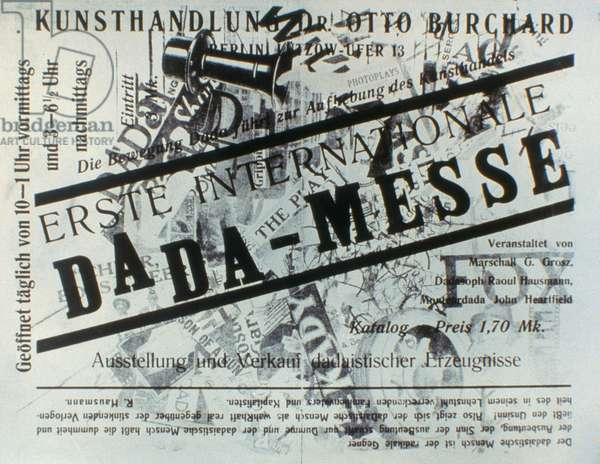 HEARTFIELD & GROSZ: DADA Cover of catalogue for First International Dada Exhibition, by John Heartfield and George Grosz, 1920.