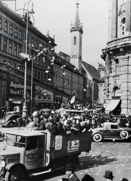 AUSTRIA: ANSCHLUSS, 1938 Truck in Vienna with sign urging voters to say 'yes' in a referendum, April 1938, to Nazi Germany's annexation of Austria the previous month.