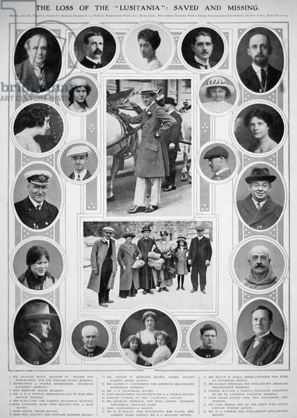 LUSITANIA: PASSENGERS Prominent passengers, saved and missing, from the Cunard liner 'Lusitania,' torpedoed by a German submarine on 7 May 1915.