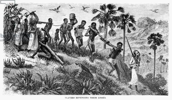 AFRICA: SLAVE TRADE An African slave gang marched from the interior to the coast, c.1870. Wood engraving after Johann Baptist Zwecker, from an American edition of David Livingstone's 'Last Journals in Central Africa,' 1875.