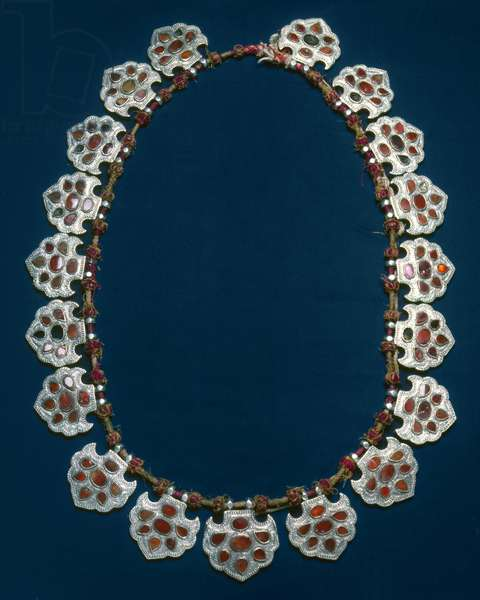 INDIA: JEWELRY Silver and gem necklace from India.