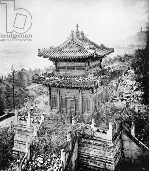 PEKING: BRONZE TEMPLE Temple made of bronze, with a marble foundation, on the grounds of the Summer Palace, in Peking, China. Photographed by John Thomson, c.1870.