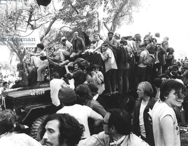 ANTI-WAR PROTEST, 1970 Protesters ride an army jeep as part of a protest in Washington, D.C., to demonstrate against the Vietnam War, the U.S. incursion into Cambodia, and the Kent State killings on 9 May 1970.