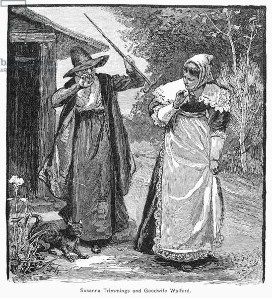 WITHCHCRAFT ACCUSATION Goodwife Walford accused of witchcraft at Little Harbor, New Hampshire, in 1658. Wood engraving, 19th century.