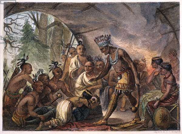 POCAHONTAS, 17th CENTURY The 12-year-old Pocahontas pleads with her father, Powhatan, for the life of Captain John Smith: 19th century engraving.